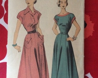 1950s 50s vintage sewing pattern elegant skirt dress Advance 5113 Bust 32