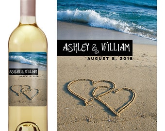 Beach Wedding Wine Label - Custom Wine Label - Personalized Wine Label - Destination Wedding Wine Bottle Label