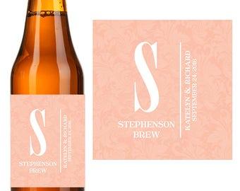 Wedding Beer Labels - Custom Beer Label - Personalized Beer Label - Wedding Beer Gift - Monogram - Monogram Wedding - 6 ct.