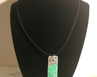 teal vinyl record necklace