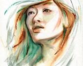 """Original Watercolour Sketch Portrait """"Defluent"""""""
