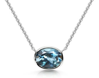Halo Necklace - London Blue Topaz & Sterling Silver