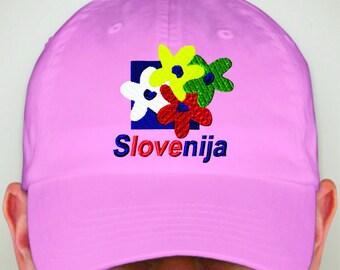 Slovenia Flower Embroidered Hat