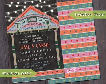 New Orleans Blues Party Invitations and Envelopes | Blues Engagement Party Couples Shower Birthday Party