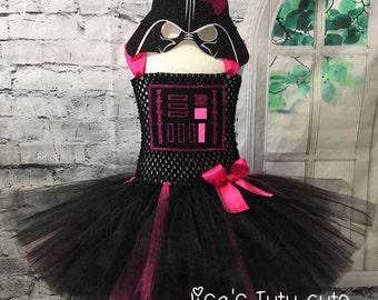 Pink Darth Vader Tutu Dress, Darth vader dress,  Star Wars Tutu Dress, star wars costume, vader costume, darth vader costume