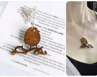 redbreast, bird pendant, robin, lasercut jewelry, 925 silver chain, robin pendant, necklace redbreast, wooden chain, wooden necklace