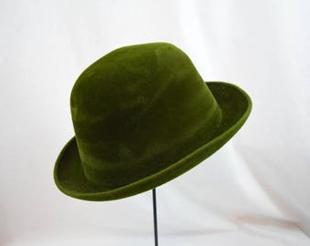 Vintage 1950s 1960s Dobbs green fellted fur trilby homburg Brooks Brothers hat
