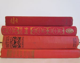 Red Orange Decorative Books Vintage Old Antique Book Set Stacked Books Photography Props Stack of Books Wedding Coffee Table Decor