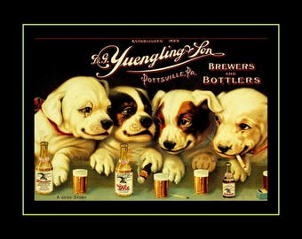 "Yuengling Beer & Puppy Poster, Puppies Decor, Dogs Drinking Wall Art, A Good Story Black or Maroon Home Bar Art, 8x10"", 11x14"", Free Ship"