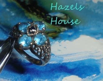 Paranormal Haunted Fae Nerissa, Vintage Stamped .925 Sterling Silver Blue Four-Stone Topaz Size 7 Fairy Ring, Haunted, Curio