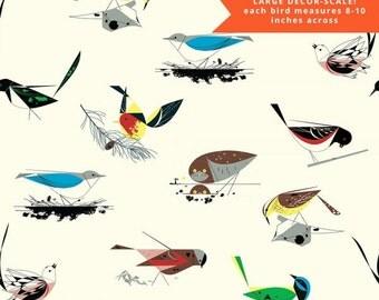 "Pre-Sale- Western Birds-  108"" Wide Organic Cotton Fabric - Charley Harper Western Birds for Birch Fabrics"