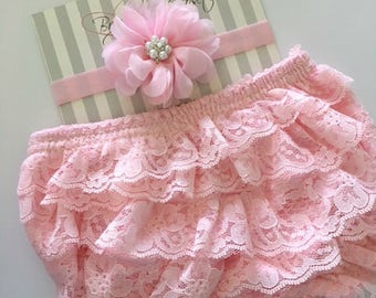 Lace Bloomers, Pink Lace Bloomers, Pink Headband, Newborn Photo Prop, Newborn to 12 Months