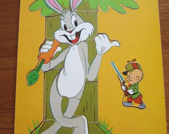Vintage Wood Puzzle Conner Toy Bugs Bunny and Elmer Fudd 1971