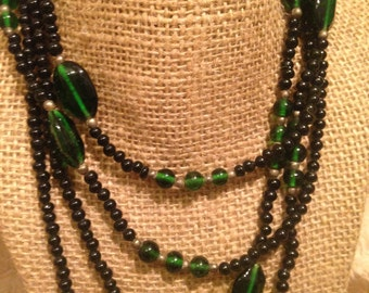 Well Made Green Glass Long Opera Length Beaded Necklace