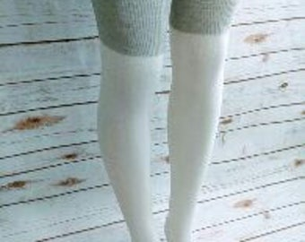 White and Gray Thigh High Socks