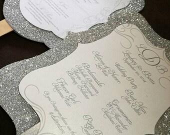 48 Silver Glitter Hand Fans - Programs / Menus