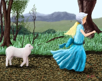 Print of Color Drawing Sheep and Child Art Inspired by Mary Had a Little Lamb Nursery Rhyme Fairy Tale