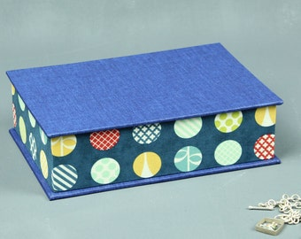 Blue jewelry box, jewelry box, box, box, sewing box, fabric-based boxes, desk box, stained points