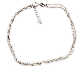 The Silver Plaza Double Chain Anklet Sterling Silver Anklet Jewelry Gift AF319 The Silver Plaza