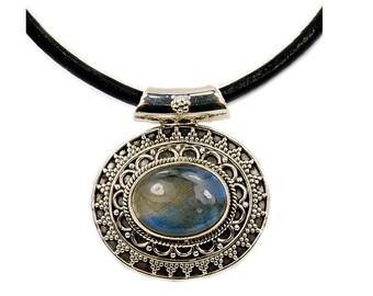 Mystical Medallion Labradorite & .925 Sterling Silver Necklace Leather Cord Necklace , AF347