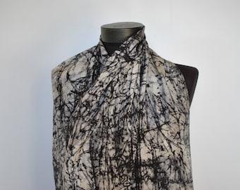 Vintage PRINTED SILK SCARF , long silk scarf..............(230)