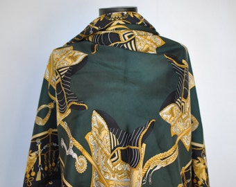Vintage PRINTED SILK SCARF with equestrian pattern...............(244)
