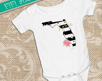 Florida home, Black & White Strip faux gold glitter dots, pink watercolor flower accent on White onsie Snap bottom all in one bodysuit