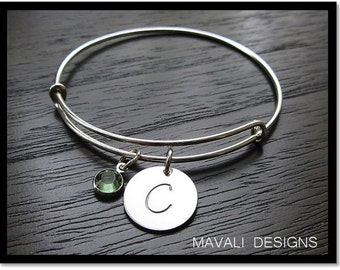 Sterling Silver Personalized Bracelet, Adjustable Silver Bangle, Customized Initial Bracelet, Initial & Birthstone Bracelet, Stackable