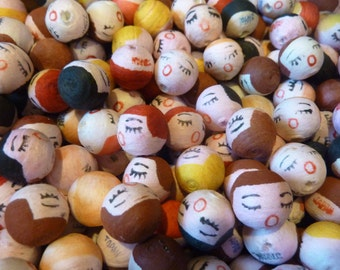 50 Spun Cotton Doll Heads Supply Japan Bead Pipe Cleaner Doll Head Vintage Craft Lot