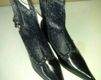 """JEKYLL n HYDE Men's Boots Leather lining wing tip  Buckle New in box Sizes 8-1/2 & 10-1/2. Winklepicker Werewolf Gothic """"Faux animal hide"""""""