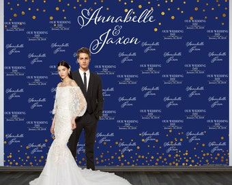 Wedding Photo Backdrop, Custom Wedding Backdrop, Personalized Step and Repeat Backdrop, Navy Blue and Gold Sparkle Photo Booth Backdrop