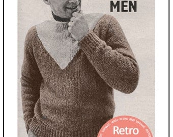 1950's Man's Mohair Sweater Knitting Pattern - Hipster – PDF Instant Download