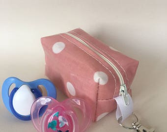 Dummy case,soother case,pacifier holder, Handmade in pink spotty oilcloth