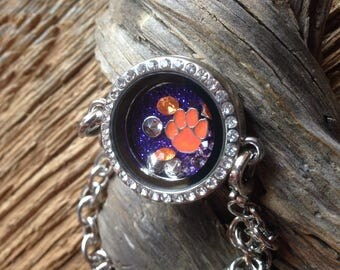 Clemson Tigers living locket bracelet: Clemson bracelet with tiger paw charm, purple glitter, and orange rhinestones, silver tiger charm