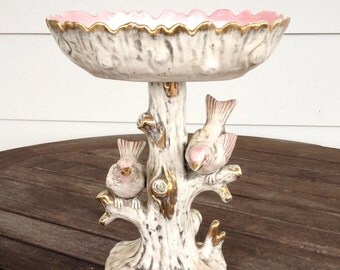 Pink and white Ucagco birds in a tree with removable tray