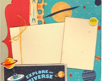 Explore the Universe / solar System / Space Age 2 Page Scrapbooking Layout Kit