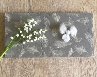 GREY WHITE FEATHER natural stone tableware