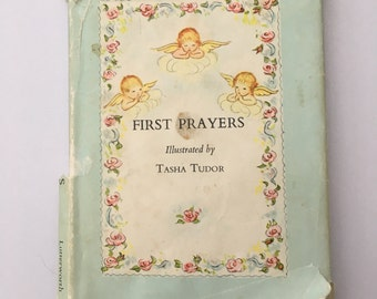 Vintage Book, First Prayers Book, Illustrated by Tasha Tudor, with Dust Cover, 1964 Edition, Vintage Children's Book