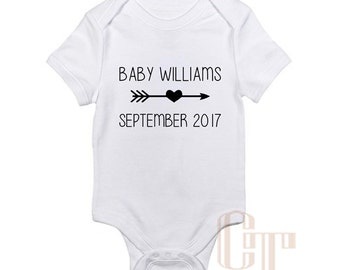 Pregnancy Announcement Custom Name Reveal Coming Soon Onesie Due Date Baby Girl Boy Infant Outfit Newborn Gift Bodysuit Pregnant Photography