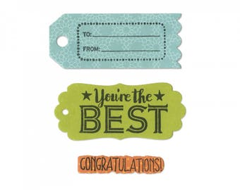 New! Sizzix Framelits Die Set 6PK w/Stamps - Tag Sentiments by Lori Whitlock 661917