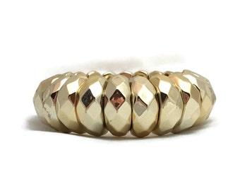 Vintage Gold Stretch Bracelet, Faceted Gold Tone Plastic Bracelet, Wide Gold Jewel Tone Metallic Stretchy