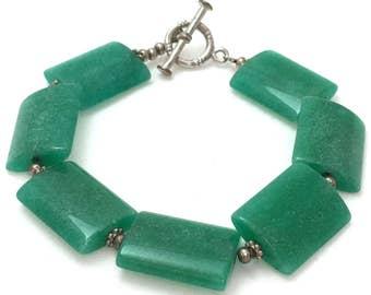 Jade Green Rectangular Pillow Bead Bracelet, Flat Rectangle Large Green Beaded Bracelet, Tumbled Stone Malachite Green Statement Bracelet