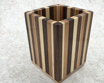 Wooden Pencil Cup - Tri-color Large Pencil Holder
