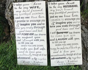 Wedding vows print on wood sign, CUSTOM SET of Vows Signs, His and Hers Vows, 1st Anniversary Gift PERSONALIZED Wedding Vows Framed