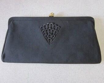 1960s Black Silk Faille Evening Bag