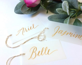 Bridesmaid Gift Tags - Personalized Calligraphy Gift Tags - Vellum Gift Tags - Calligraphy Wedding Gift Tags - Calligraphy Dress Hanger Tags