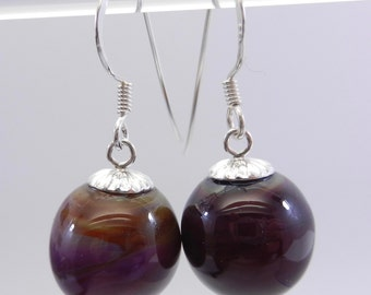 Hollow Blown Bead and Sterling Silver Earrings