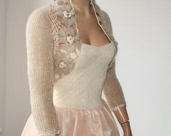 Beige  Shrug Crochet Bolero, Knit Cowl Shrug, Lace Shrug, Mohair 3/4 Sleeve Sweater Shrug, Winter Bridal Shrug Bolero Jacket / S - M - L