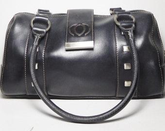 Black Soft Pliable Vinyl Top Handle Bag Short Handles Fold Over Closure with Magnetic Snap Closure Zipper Closure Silver Tone Studs Vintage