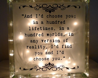 And I'd Choose You in a Hundred Lifetimes Glass Lamp